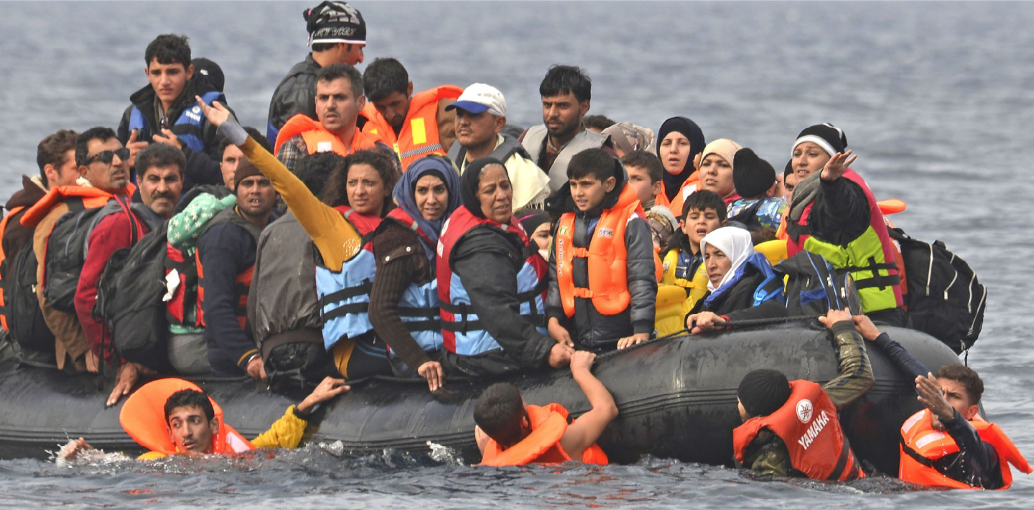 Refugees in dingy